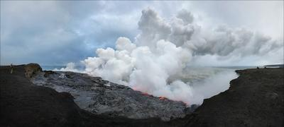 Панорама про лаву и океан Hawaii, Гавайи, Лава, Lava