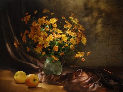 Хризантемы...и немного яблок световая кисть+текстура