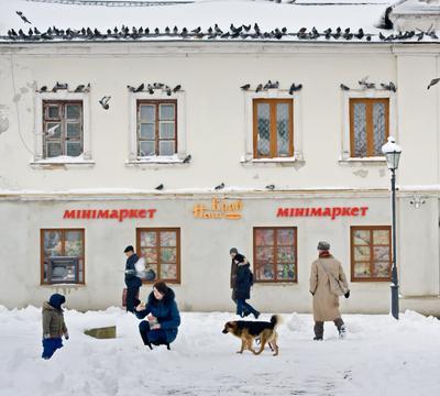 Город город жовква зима люди голуби