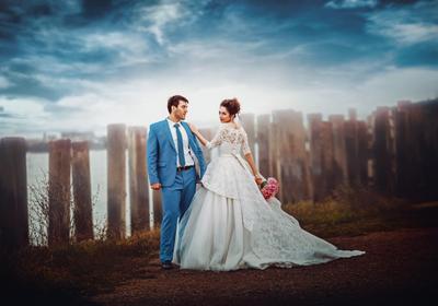 У самого синего неба) жених невеста море небо