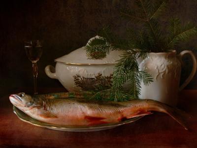 С молочной форелью натюрморт рыба Рождество