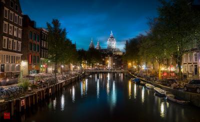 Amsterdam at night амстерлам город