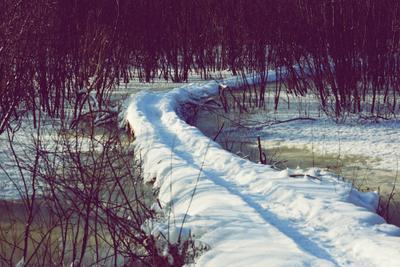 Тропинка зима снег река лед тропинка цвет ясинский