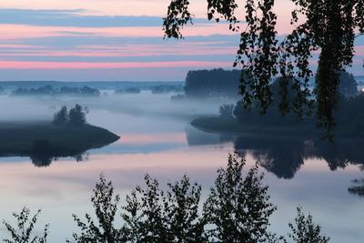Ночной туман над рекой Тезой Шуя город река Теза Ивановская область туман вечер ночное фото