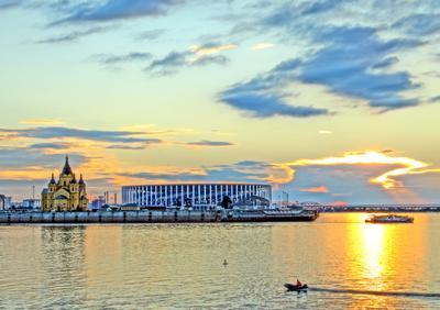 Любимый город Нижний Новгород. Закат на Стрелке 13.07.18 в режиме Живопись.