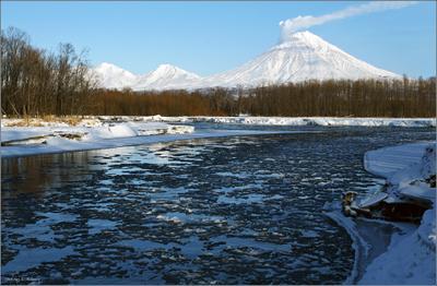 Ледостав 2 Январь, Камчатка, река Авача, ледостав, вулкан Корякский, активизация, парогазовый выброс