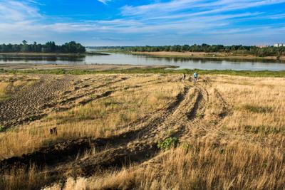 Разлив р. Волга Пляж река Волга озеро вода природа красота поле поляна