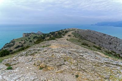 Крым, Судак, мыс Алчак (4). На вершине. Взгляд вдоль...