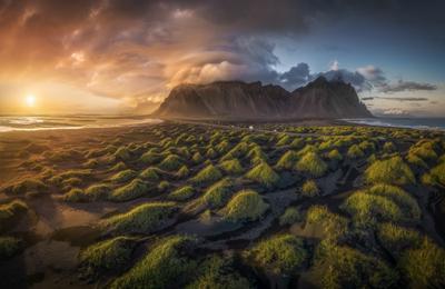 Пролетая над дюнами Исландия Стокснес