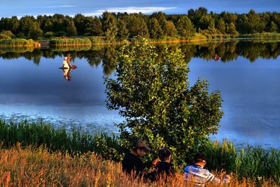 Лепель. Святое озеро. Купала 2009 озеро, купала, праздник, закат, лес