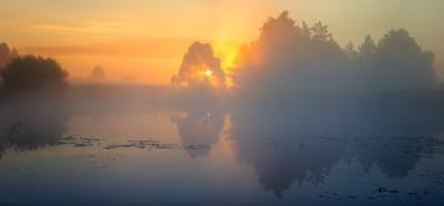 Утренняя тишина на реке утро туман панорама волчья солнце пейзаж