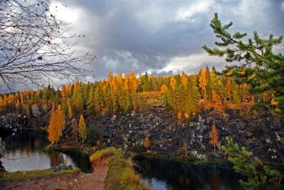 Мраморный каньон каньон осень рускеала