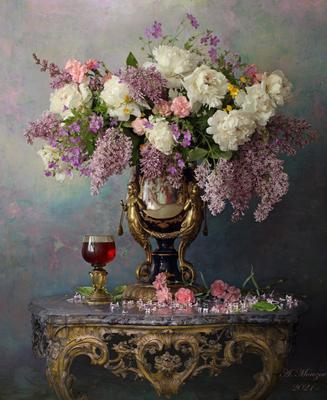 Натюрморт с цветами цветы сирень пионы