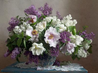 *** Натюрморт сирень пионы весна букет цветов