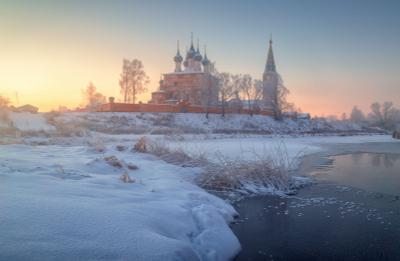 Дуниловские морозы 2 Дунилово Ивановская область рассвет зима мороз иней туман село храм