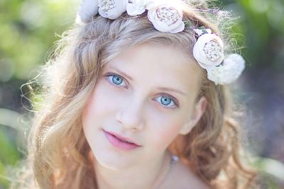 *** портрет девушка пленэр весна цветочный венок нежность пастель голубые глаза любовь