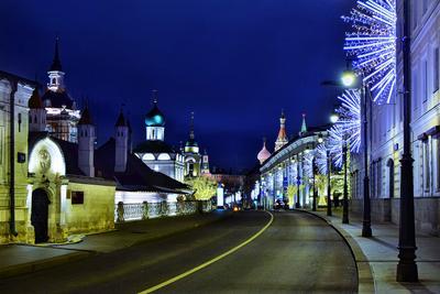 Праздничная Варварка улица утро праздник рождество иллюминация храмы