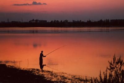 Рыбалка на закате !!! закат пейзаж плёнка