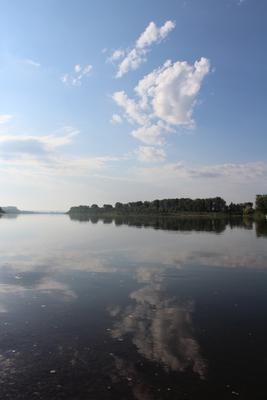 *** свежее летнее утро у реки река свежесть отражение лес облака утро голубой белый зеленый рыбалка