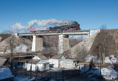 На мосту паровоз ржд железная дорога Хотьково рельсы дым поезд Лебедянка ЛВ-0182