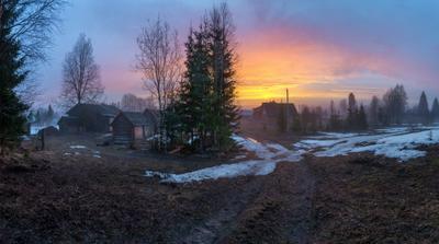 Вечер в деревне с небольшим туманом...04.05.2020. дер. Холдынка, Вологодская область, Вожегодский район. Вологодчина природа весна деревня