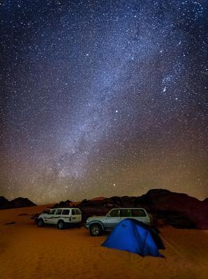 Млечный путь в Ливийской Сахаре Ливия, Сахара, Звёзды, Млечный путь, Палатки, Лагерь