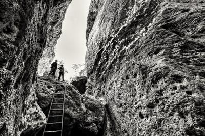 *** лестница туристы горы каньон