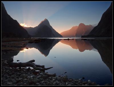 Milford Sound New Zealand, South Fiordland, sunset, Новая Зеландия, Милфорд Саунд
