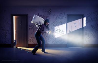 Воришка реклама рекламный образ ретушь монтаж коллаж вор кража охранные системы календарь лобур