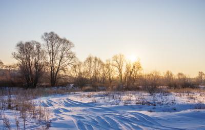 Морозный рассвет пейзаж природа зима утро дорога снег лес сосна луг солнце