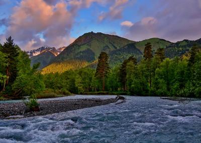Утро Кавказ горы утро Архыз река