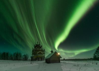 *** Архангельская область деревня русский север церковь северное сияние Куртяево