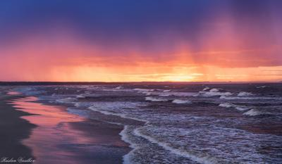 Закат. Закат Моря волны