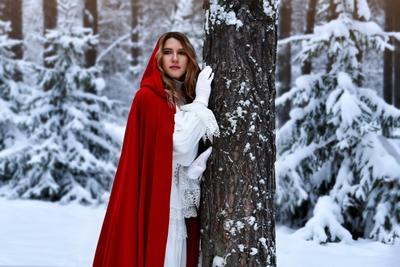 Красная шапочки в зимнем лесу зима снег сказка портрет сказочный
