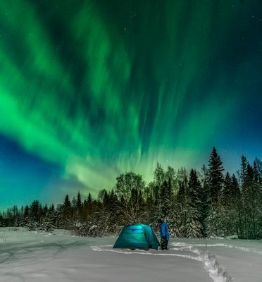 Aurora Borealis Архангельская область деревня русский север палатка северное сияние Куртяево