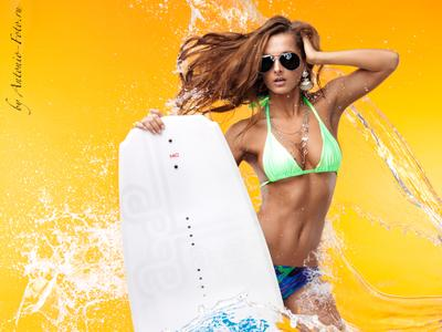 *** girl, water, surfing, bikini, glasses, kite, surfboard, wave rider
