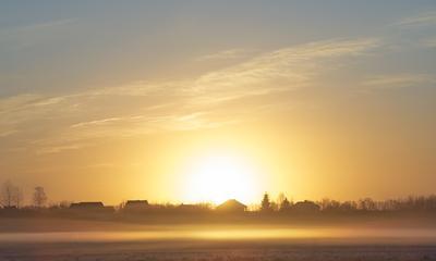*** пейзаж восход туман