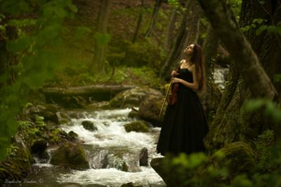 Музыка гор Крым горы скрипка портрет жанр река вода лес