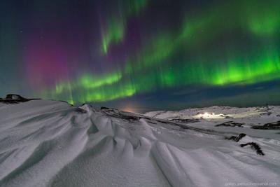 Изумруды северного неба Териберка север северное сияние ночь