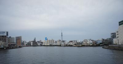 Вид на Токио со стороны устья реки Сумидагавы вода мост телебашня Токио тупость пасмурно рыбный рынок