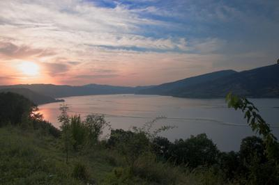 Дунав вода пейзаж ночь закат