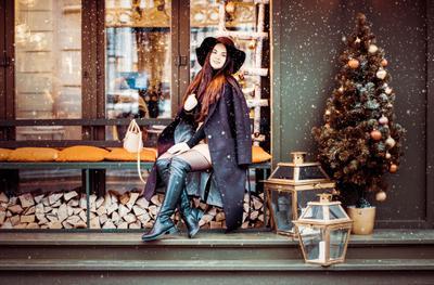 *** снег зима ресторан девушка