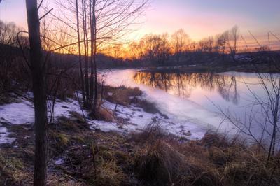 Закат на реке Старица Рязанская область Рязанский район п Солотча река Старица зима январь закат