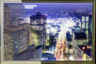 ночная япония напечатана и подсвечена по технологии WhiteMak WhiteMak белый мак япония город ночью эффектно интересно фото
