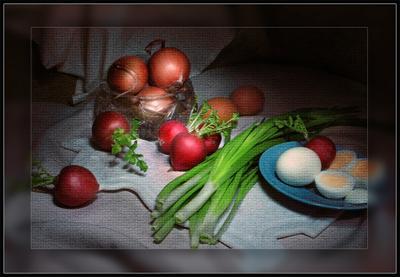 Редиска Редис лук яйца салат