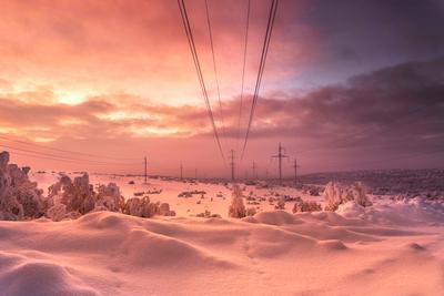 Наступает ночь мурманск вечер зима север небо облака снег свет
