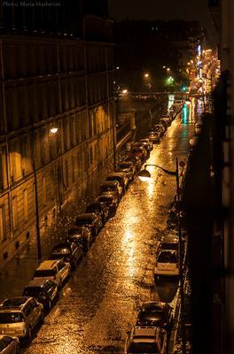 Летний вечер в Париже Дождь лето свежесть Франция Париж улица