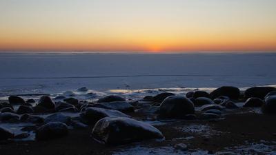 После захода солнца Финский залив зима закат