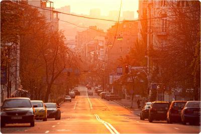 Honchara street. Kiev, sunset