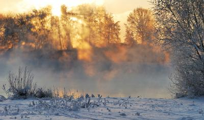 Игра света. река зима туман